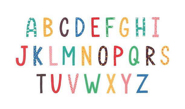 Colorful Latin letters of English alphabet for kids education. ABC font in cute doodle scandinavian style. Colored flat vector illustration isolated on white background