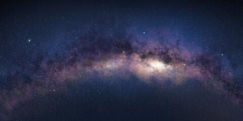 Milky way's bend in starry night sky.