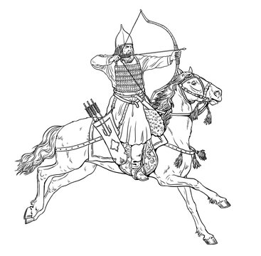 Mounted knight. Mounted asian archer at the Battle. Digital drawing.