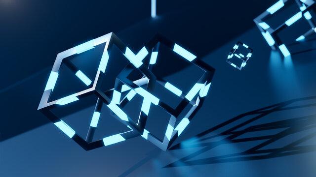 3d render of blochain cobes in neon blue light. Big data concept. Artificial intellegence. abstract tech background