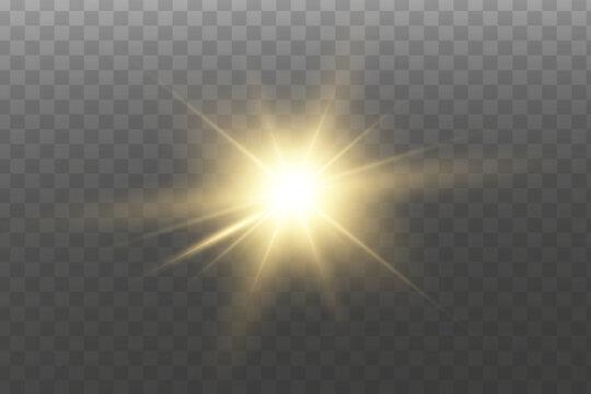 Shining golden stars isolated on transparent background. Effects, glare, lines, glitter, explosion, golden light. Vector illustration. Set.