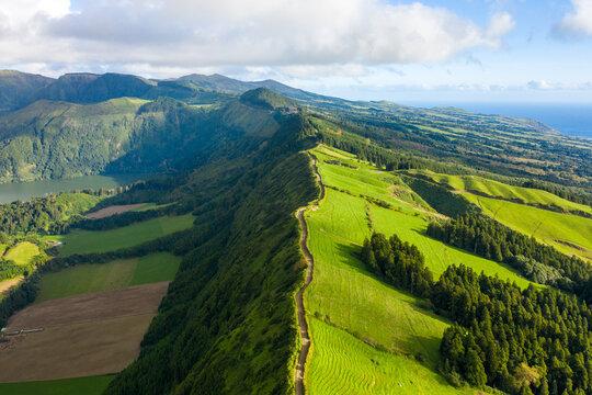 Aerial view of beautiful landscape at the Lagoa Azul on San Miguel Island near Ponta Delgada, Azores.