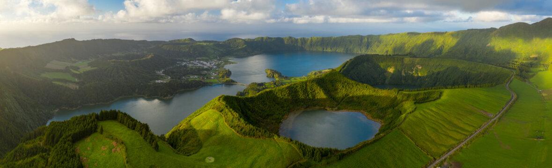 Aerial panorama view of Lagoa Azul lake on San Miguel Island, Azores archipelagos, Portugal.