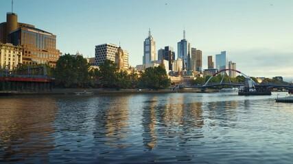 Fototapete - morning, Yarra River, Melbourne, Victoria, Australia