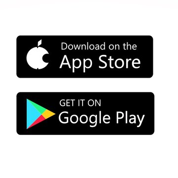 Download on the App Store and Get it on Google Play button icons, printed on paper