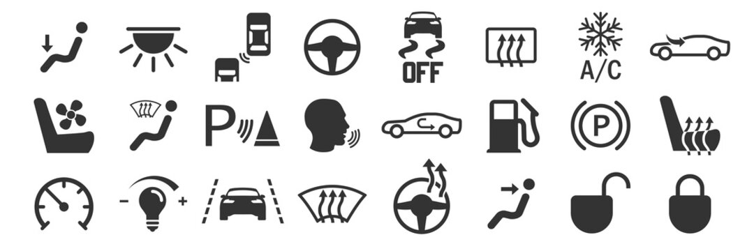 Car interior buttons set icons in simple design. Vector illustration