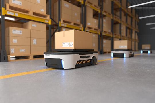 Autonomous Robot transportation in warehouses, Warehouse automation concept.