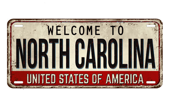 Welcome to North Carolina vintage rusty metal plate