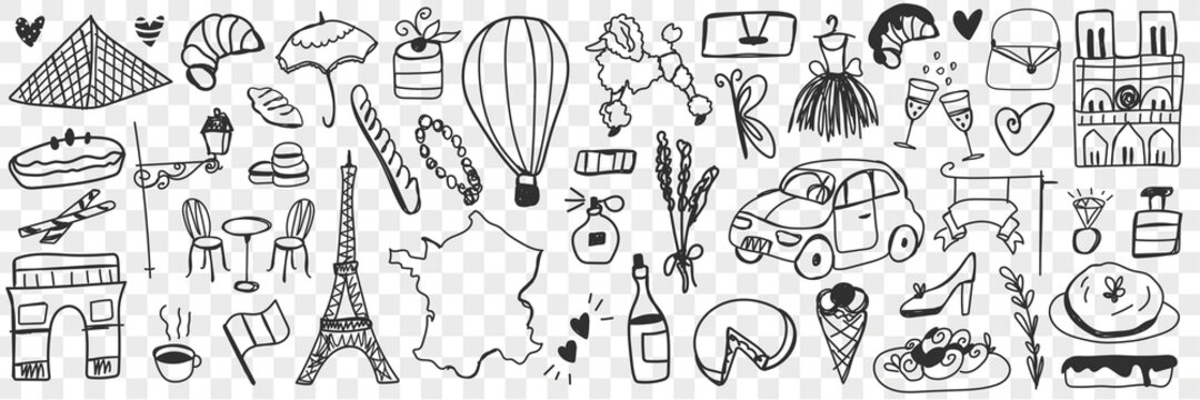 Various french symbols doodle set. Collection of hand drawn eclairs biscuits cheese champagne, cars, architecture, fashion accessories, baguette, dogs, perfume isolated on transparent background