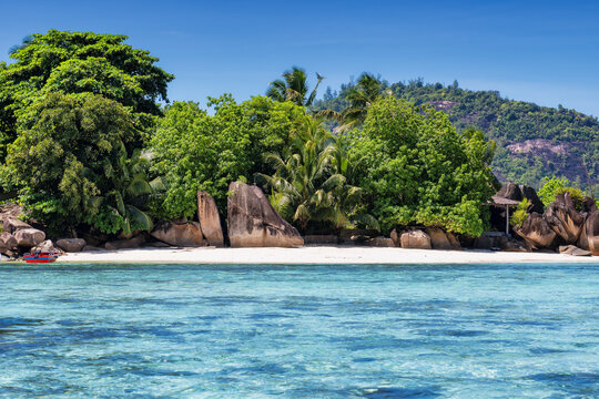 Exotic tropical Sunny beach with beautiful rocks and coconut palms on Seychelles.