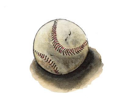 Watercolor baseball ball on the floor. Postcard template, brown ball. Sport games. Cute children book art. Raster stock illustration in cartoon style.