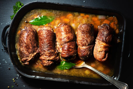 Traditional german meal of beef roulades in roast pot