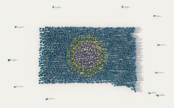Directly Above Shot Of Crowd Making South Dakota Flag Shape On White Background