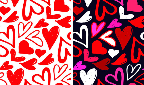 Cute hand drawn doodle kiss pattern background. Happy Valentines Day - Love you - pattern - background. Kiss me.