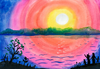 The landscape with the setting sun and people on the river bank is painted in watercolor. Sunrise, the sky in the colors of the rainbow. A family stands on the shore, a woman raises her hands