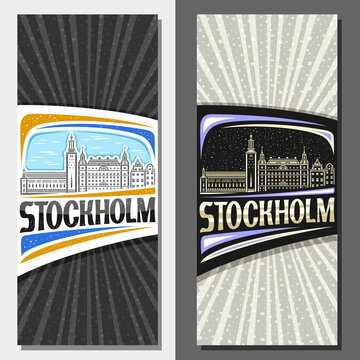 Vector vertical layouts for Stockholm, decorative leaflet with line illustration of stockholm city scape on day and dusk sky background, art design tourist card with unique letters for word stockholm.