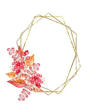 watercolor illustration.  gold polygonal circle  frame with red and yellow leaves and branches autumn .  For invitations, cards, weddings, christenings, birthday