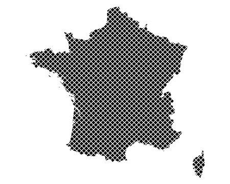 Karte von Frankreich auf einfachem Kreuzstich
