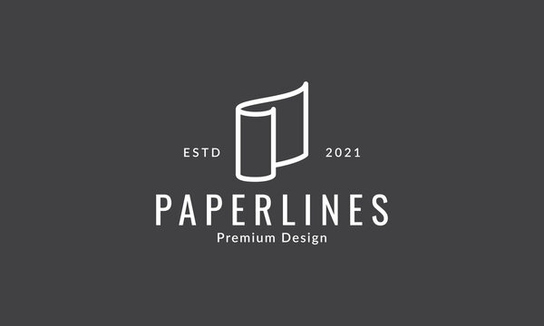 paper line roll simple logo vector icon symbol graphic design illustration