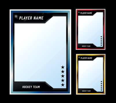 Hockey player card frame template design