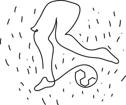 One line drawing of woman soccer player. One continuous line drawing of female football player