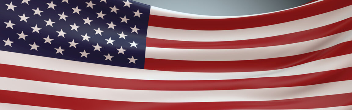 USA Flag swaying panoramic view. 3D Rendering American Flag fluttering full frame.