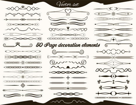 Set of 50 vintage decoration and border design elements for wedding cards, greeting cards and vintage design projects