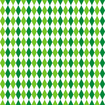 St. Patrick s day rhombus seamless pattern. Green white checkered background. Saint Patricks backdrop. Vector template for fabric, textile, wallpaper, wrapping paper, etc.