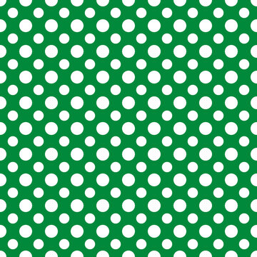 St. Patrick s day polka dot seamless pattern. Green white background. Saint Patricks backdrop. Vector template for fabric, textile, wallpaper, wrapping paper, etc