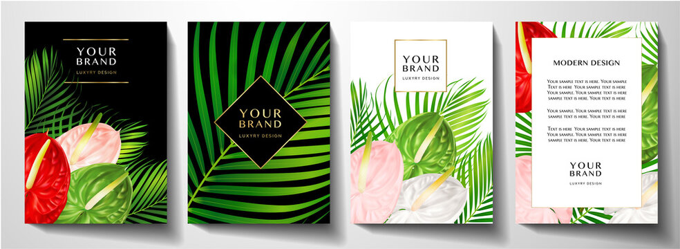 Tropical cover design set with asian flower bouquet and green palm branch. Exotic background pattern useful for wedding, menu, summer holiday poster