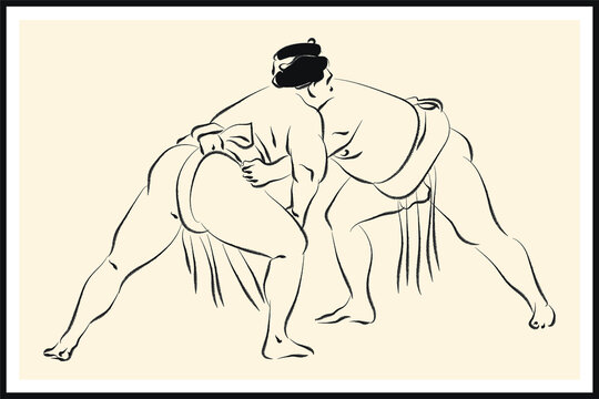 Sumo wrestler sketch. Vector poster. Living room poster, wall decoration poster