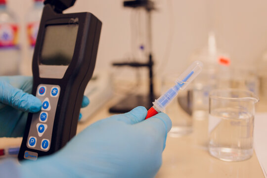 Electrode ph meter and pH meter for laboratory measurements. Water and solution. Used for researchers and scientist. To research water and solubility lines.