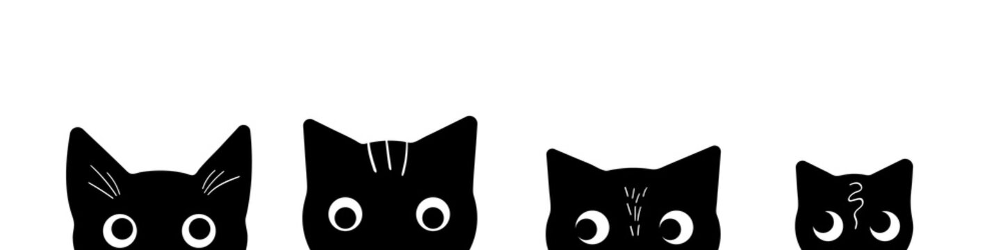 Cat heads silhouettes on white background. Cute kittens peeking out of the bottom of the page. Kitty banner. Vector illustration.