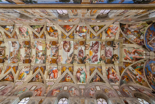 Vatican City, Rome, Italy - May 30, 2016: Ceiling of the Sistine chapel in the Vatican Museum