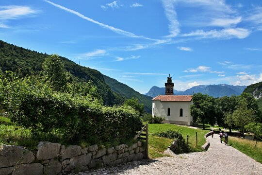 Italy-a view on the cyclists and Sanctuary of the Blessed Virgin