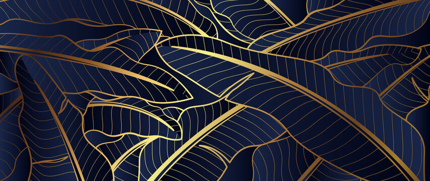 Luxury Gold line art and banana leaf natural background