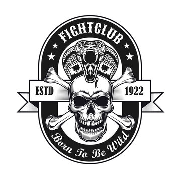 Fight club symbol design. Monochrome element with skull and king cobra vector illustration with text. Aggression or horror concept for emblems and labels templates
