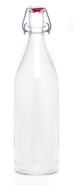 Glass bottle with swing porcelain closure of 1 liter. Without label and isolated on white background.