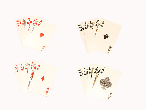 Playing cards isolated, all cards