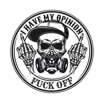 Black middle finger emblem. Vintage design element with rebel skull in respirator showing fuck off hand gesture and text. Nonconformist concept for tattoo, stamp, print template