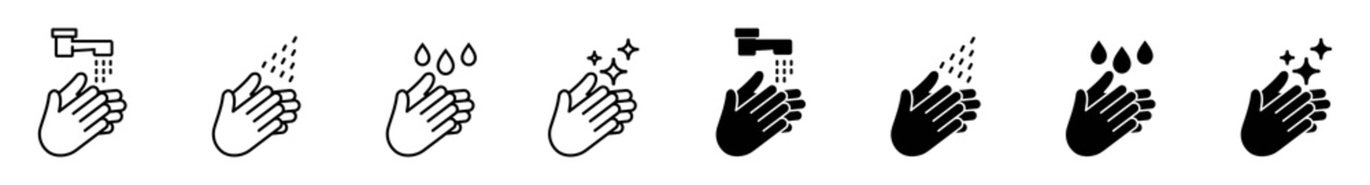 Hand washing  icons set, Black vector and line icon, vector illustration