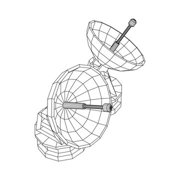 Radar. Directional radio antenna with satellite dish. Astronomy radio telescope . Wireframe low poly mesh vector illustration