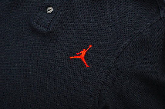 london, uk, 05.05.2020 official authentic black air jordan basketball polo top three button. classic basketball street style polo sweatshirt. Jordan basketball.