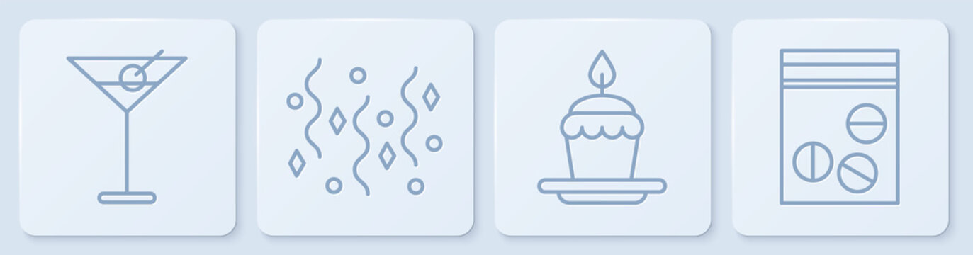 Set line Martini glass, Cake with burning candles, Festive confetti and Plastic bag of drug. White square button. Vector.