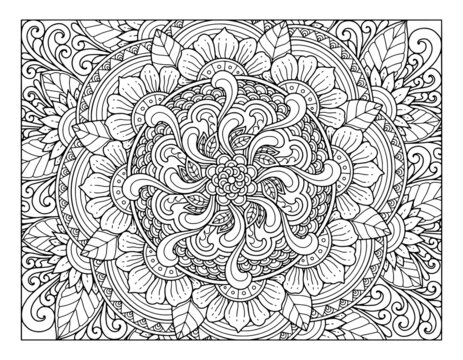 coloring full page mandala design. adult coloring page