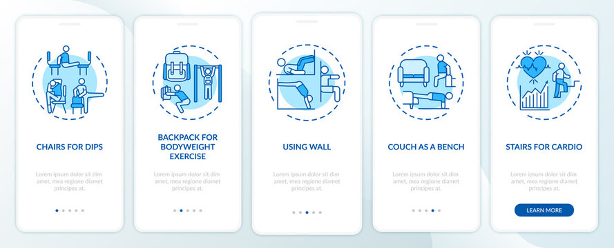 Gym exercising alternatives onboarding mobile app page screen with concepts. Dips, stairs for cardio walkthrough 5 steps graphic instructions. UI vector template with RGB color illustrations
