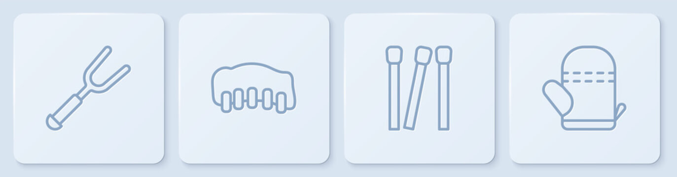 Set line Barbecue fork, Matches, Grilled pork bbq ribs and Oven glove. White square button. Vector.