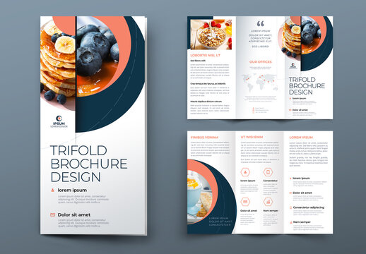 Trifold Brochure Layout with Coral and Blue Circle Elements