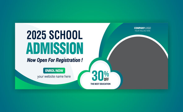 School Admission Social Media Post, Facebook Cover Banner Template