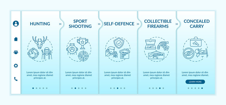 Gun ownership for civilian onboarding vector template. Firearm for hunting. Sport shooting. Responsive mobile website with icons. Webpage walkthrough step screens. RGB color concept